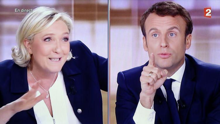 Marine Le Pen et Emmanuel Macron lors du débat de l'entre-deux-tours de l'élection présidentielle, le 3 mai 2017. (MAXPPP)