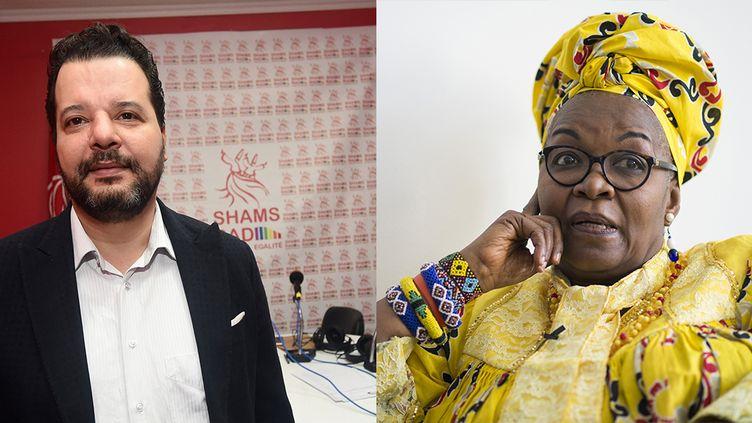 Mounir Baatour et Alice Nkom (montage photo). (FETHI BELAID / AFP et JOHANNES EISELE / AFP)