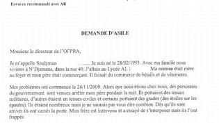 Extrait de la lettre de demande d'asile de Soulyman. (FORUM REFUGIES)