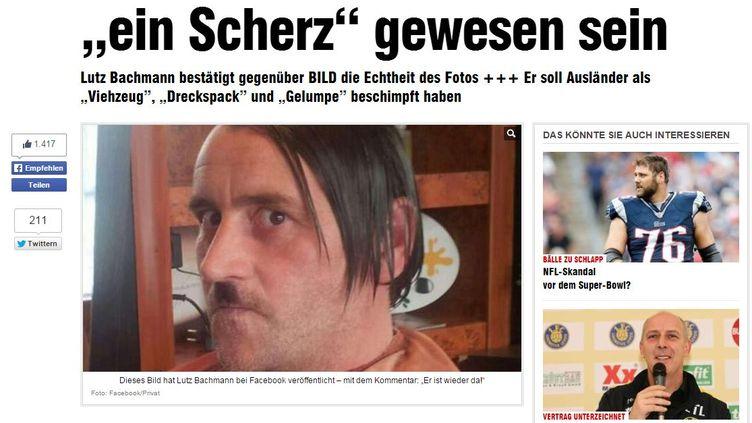 """Capture d'écran du site du tabloïd allemand """"Bild"""" qui publie une photo du fondateur du mouvement anti-islam Pegida, Lutz Bachmann, posant en Adolf Hitler. (BILD.DE / FRANCETV INFO)"""