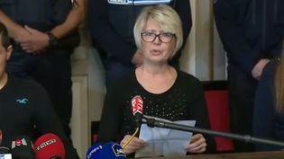 Capture d'écran de la conférence de presse tenue par Isabelle Fouillot, la mère d'Alexia Daval, le 2 novembre 2017, à Gray (Haute-Saône). (FRANCEINFO)