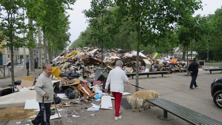 ANemours (Seine-et-Marne), les déchets s'emoncellesnt après la décrue, le 6 juin 2016 (MAXPPP)