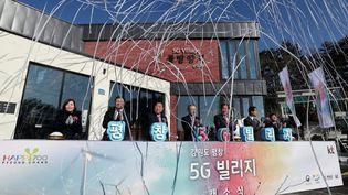 Inauguration du village olympique 5G àPyeongchang (Corée du Sud), le 20 décembre 2017. (MAXPPP)