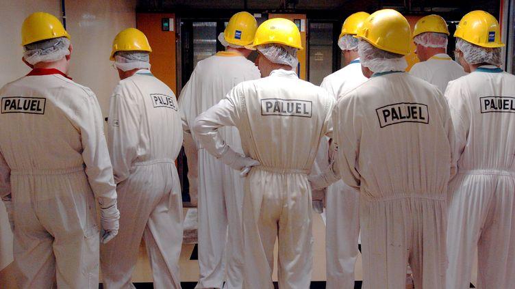 Des techniciens passent le sas de contrôle, le 06 juin 2005, lors de la révision décennale du réacteur 2 de la centrale nucléaire de Paluel (Seine-Maritime). (ROBERT FRANCOIS / AFP)