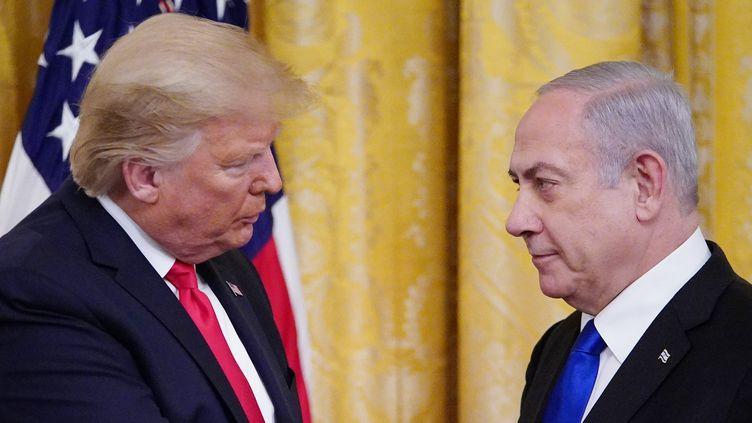 """Donald Trump et le Premier ministre israélien Benjamin Netanyahou lors de l'annonce du """"plan de paix"""" américain pour le Proche-Orient. (MANDEL NGAN / AFP)"""