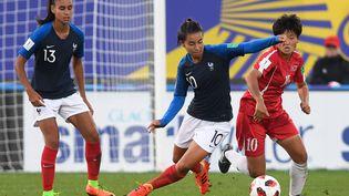L'équipe de France de football féminin des moins de 20 ans contre la Corée du Nord en quart de finale du Mondial le 16 août 2018. (FRED TANNEAU / AFP)