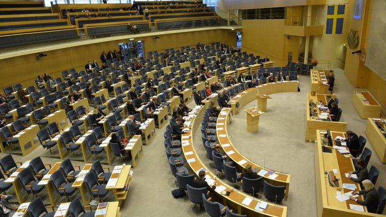 Vue de l'hémicycle du Parlement suédois, à Stockholm, lors d'un débat sur le budget, le 3 décembre 2014. (HENRIK MONTGOMERY / TT NEWS AGENCY / AFP)