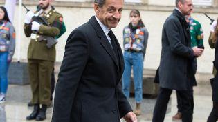 L'ancien chef de l'Etat Nicolas Sarkozy lors des obsèquesdu grand-duc Jean du Luxembourg, le 4 mai 2019 à Luxembourg. (ALEXANDR KRYAZHEV / SPUTNIK / AFP)
