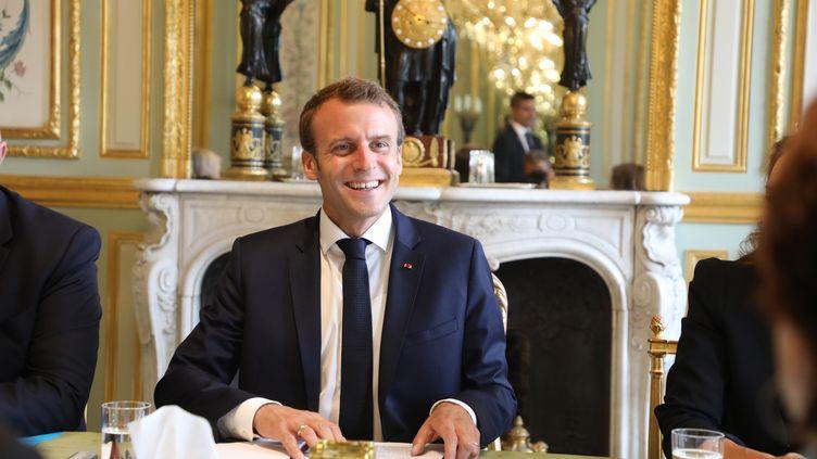 Le président de la République, Emmanuel Macron, le 20 juillet 2018 à l'Elysée. (LUDOVIC MARIN / AFP)