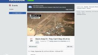 La page Facebook sur laquelle des milliers d'Américains se sont entendus pour encercler la zone 51, vendredi 20 septembre 2019. (France 2)