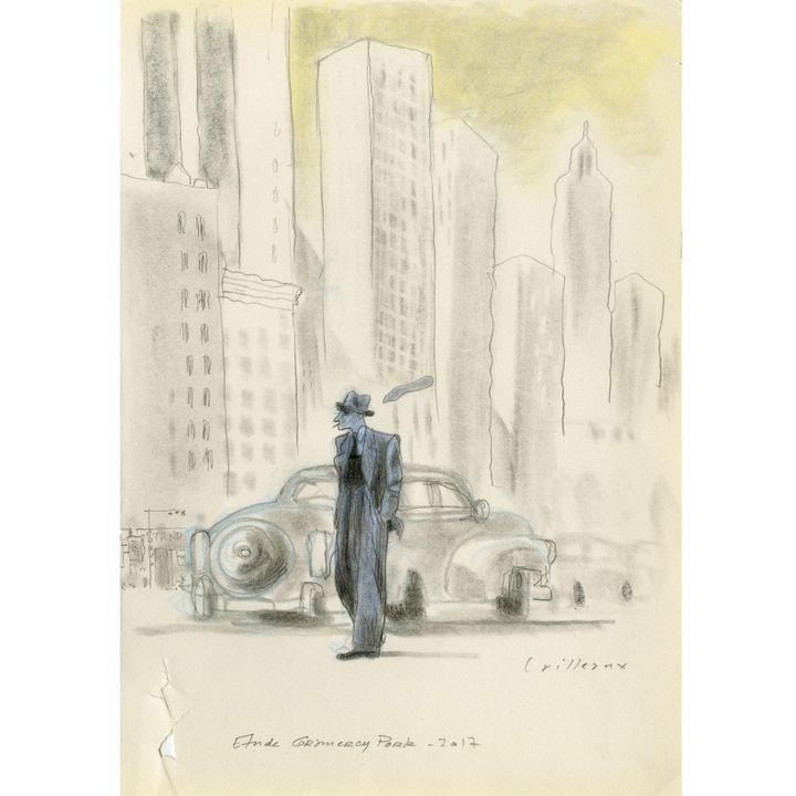 """Croquis préparatoire """"Gramercy Park""""  (Christian Cailleaux)"""
