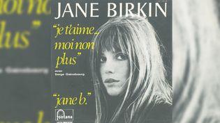 """Le 45 tours de """"Je t'aime moi non plus"""" par Jane Birkin (avec Serge Gainsbourg). (DR)"""