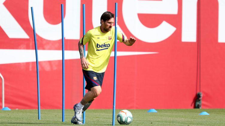 Lionel Messi lors d'une séance d'entraînement, le 8 mai 2020 (MIGUEL RUIZ / AFP)