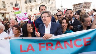 Jean-Luc Mélenchon manifeste contre la réforme du Code du travail, le 12 septembre 2017 à Marseille (Bouches-du-Rhône). (CLEMENT MAHOUDEAU / MAXPPP)