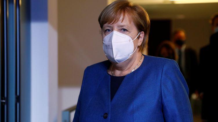 La chancelière allemande Angela Merkel, à Berlin, en Allemagne, le 28 octobre 2020. (FABRIZIO BENSCH / POOL / AFP)