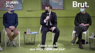 VIDEO. Deux repas par jour à 1€ dans les restos U : l'annonce d'Emmanuel Macron (BRUT)