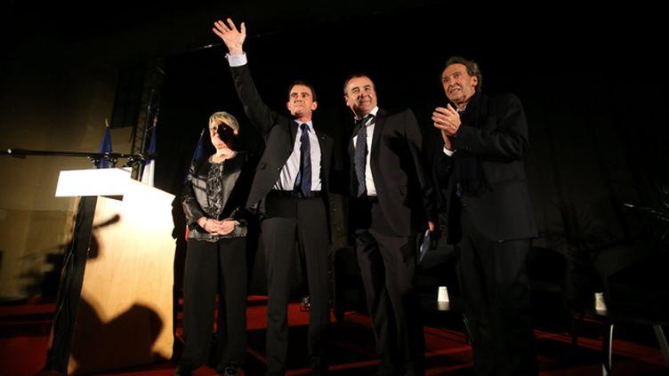 (Manuel Valls mardi au meeting d'Audincourt, où la CGT a coupé le courant électrique © Maxppp)