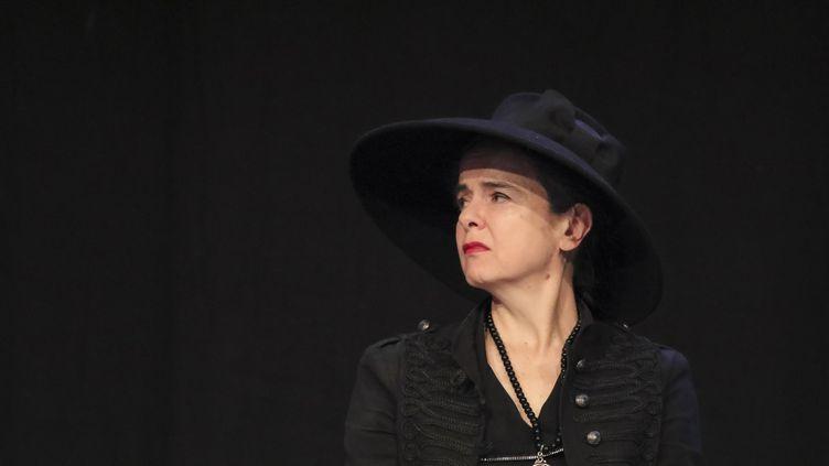 Amélie Nothomb à la foire du livre de Bruxelles, en Belgique, le 16 février 2019 (OLIVIER-GUY DEMOULIN / BELGA MAG)