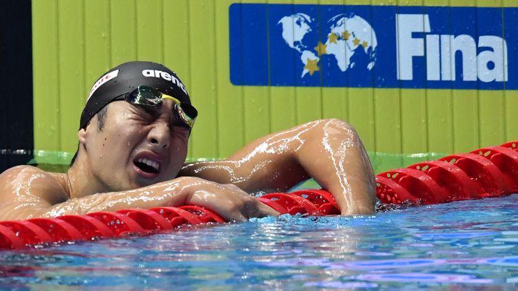 Daiya Seto lors des championnats du monde 2019 de natation à Gwangju, en Corée du Sud, où il a remporté deux titres (ED JONES / AFP)
