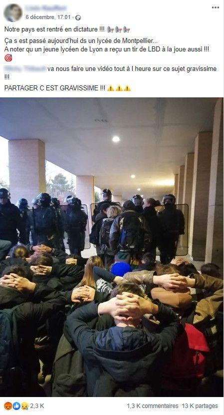 Un post Facebook montrant des étudiants à genoux devant des CRS. (CAPTURE ECRAN FACEBOOK)
