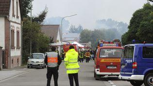 Le village de Harthausen (Allemagne), évacué après une explosion dans une usine de gaz, samedi 28 septembre. ( MAXPPP)