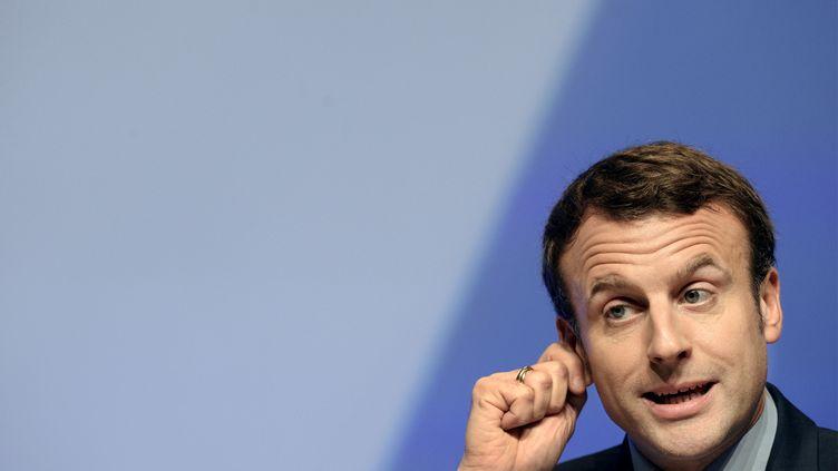 Emmanuel Macron le jeudi 30 mars à Brest. (FRED TANNEAU / AFP)