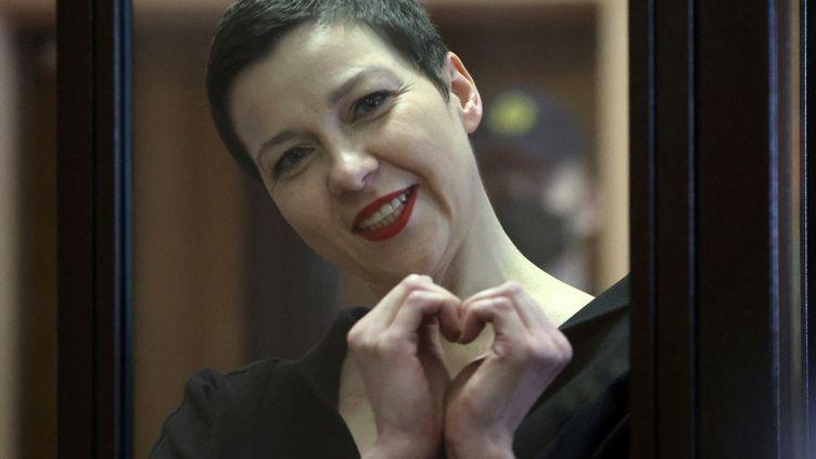 Maria Kolesnikova,figure de l'opposition en Biélorussie, lors de son jugement à Minsk, la capitale du pays, le 6 septembre 2021. (RAMIL NASIBULIN / BELTA / AFP)