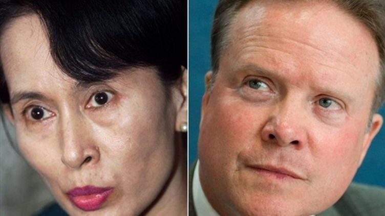 L'opposante birmane Aung San Suu Kyi et le sénateur démocrate américain Jim Webb (© AFP / Emmanuel Dunan / Saul Loeb)