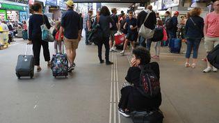 Des voyageurs attendent en gare de Montparnasse le 30 juillet 2017, à Paris. (JACQUES DEMARTHON / AFP)