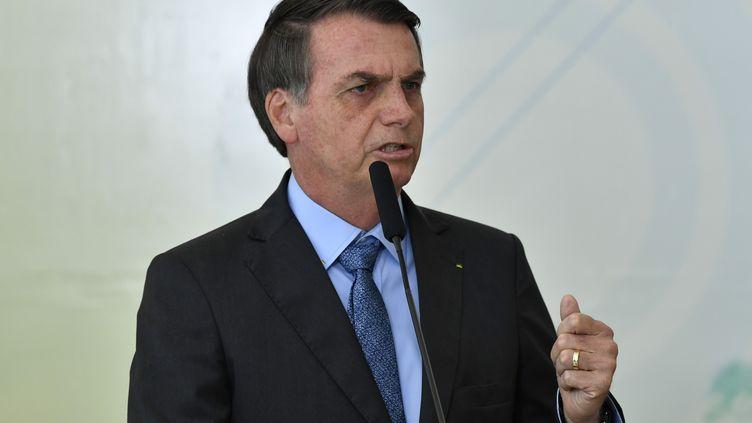 Jair Bolsonaro, à Brasilia, le 16 août 2019. (MATEUS BONOMI / AGIF / AFP)