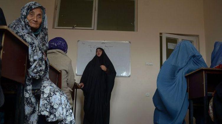 Un cours d'éducation à la contraception de l'ONG Marie Stopes International, le 19 mars 2016 à Mazar-i-Sharif, en Afghanistan. (FARSHAD USYAN / AFP)