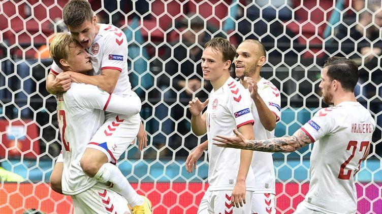 Kasper Dolberg a marqué contre le pays de Galles, le 26 juin 2021 (OLAF KRAAK / POOL / AFP)