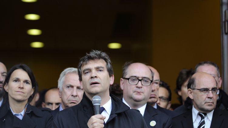Arnaud Montebourg s'adressant aux salariés du site d'ArcelorMittal de Florange (Moselle)le 27 septembre 2012. (JEAN-CHRISTOPHE VERHAEGEN / AFP)