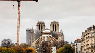 La grue et les échafaudages du chantier de restauration de Notre-Dame de Paris, le 16 novembre 2020 (THOMAS COEX / AFP)