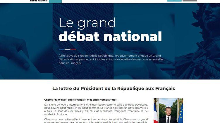 """La plateforme www.granddebat.fr, lancée par le gouvernement pour répondre à la crise des """"gilets jaunes"""" le 15 janvier 2019. (CAP COLLECTIF / MISSION DU GRAND DEBAT)"""