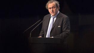 Le président de l'UEFA, Michel Platini, le 24 mars 2015 à Vienne (Autriche). (JOE KLAMAR / AFP)