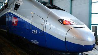 Un TGV de la SNCF dans le technicentre du Landy à Saint Denis le 12 avril 2016. (ERIC PIERMONT / AFP)