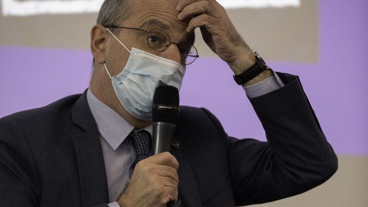 Jean-Michel Blanquer, ministre de l'Éducation Nationale, de la Jeunesse et des Sports, le 15 février 2021, et le gouvernement vont aider le football français. (ESTELLE RUIZ / HANS LUCAS)