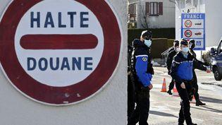 Des gendarmes contrôlent les véhicules en provenance de Suisse, au poste de douanes de Verrierres-de-Joux. Photo d'illustration. (ALEXANDRE MARCHI / MAXPPP)
