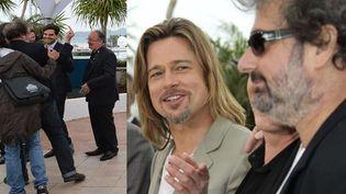 Le doigt d'honneur de Gustave Kervern à Brad Pitt  (AFP PHOTO / ALBERTO PIZZOLI / SIPA / AP Photo / Joel Ryan)
