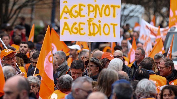 Des adhérents à la CFDT manifestent contre la réforme des retraites le 17 décembre 2019 à Toulouse. (FREDERIC SCHEIBER / HANS LUCAS / AFP)