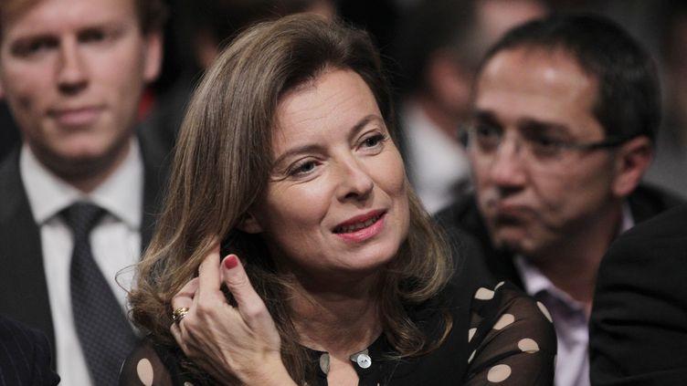 Valérie Trierweiler, le 22 octobre, assiste au lancement officiel de la campagne présidentielle du PS à la halle Freyssinet à Paris. (JOEL SAGET / AFP)