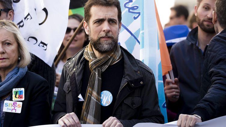 """Frédéric Marchand, secrétaire général de l'UNSA Education, lors d'une manifestation contre la loi """"pour une école de la confiance"""", le 30 mars 2019. (VINCENT ISORE / MAXPPP)"""