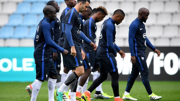 Les Bleus à l'entraînement au stade de la Beaujoire, lundi 30 mai 2016 à Nantes (Loire-Atlantique), à quelques heures d'un match amical contre le Cameroun. (FRANCK FIFE / AFP)