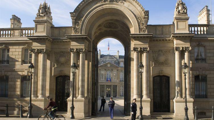 L'entrée de l'Elysée, vue depuis la rue du Faubourg Saint Honoré, le 3 juin 2010. (DANIEL THIERRY / PHOTONONSTOP / AFP)