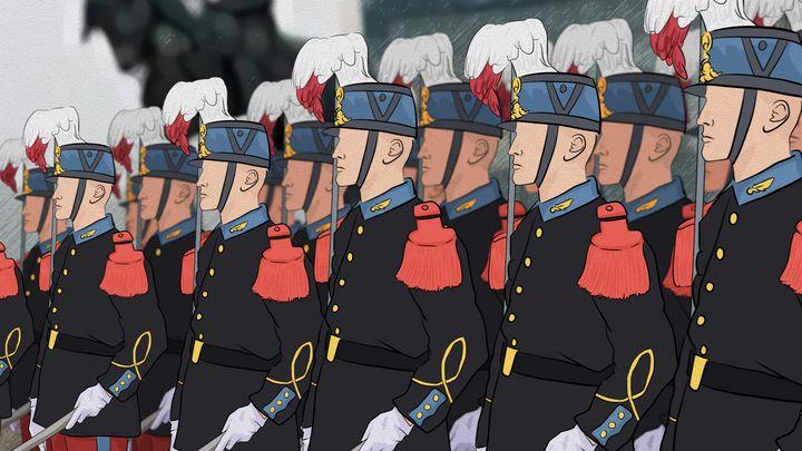 Illustration des officiers de l'école militaire spéciale de Saint-Cyr. (NICOLAS DEWIT / RADIO FRANCE)