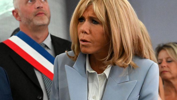 Brigitte Macron, à Azincourt (Pas-de-Calais), pour l'inauguration d'un centre historique, le 29 août 2019. (DENIS CHARLET / AFP)