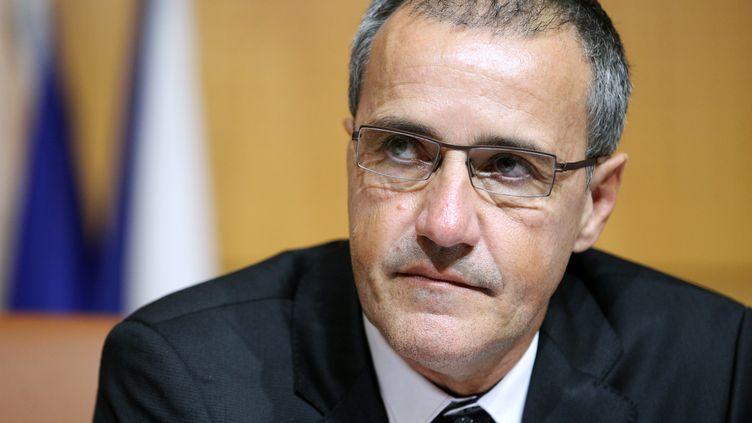 Le président de l'Assemblée de Corse, Jean-Guy Talamoni, le 17 décembre 2015, à Ajaccio. (PASCAL POCHARD-CASABIANCA / AFP)