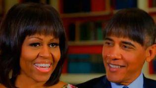 Barack et Michelle Obama avec la même frange  (Capture écran YouTube/CNN)