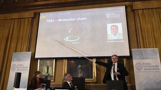 Le comité Nobel présente les travaux qui ont valu à Jean-Pierre Sauvage (avecFraser Stoddart et Bernard Feringa) le prix Nobel de chimie, mercredi 5octobre àl'Académie royale des sciences suédoise. (JONATHAN NACKSTRAND / AFP)